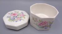 VINTAGE Fine China Trinket Octagon Box Made In Japan Floral Flower Porcelain