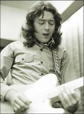 Rory Gallagher with his Fender Telecaster guitar circa 1972 b/w pin-up photo