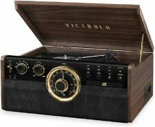Victrola 6 in 1 Wood Bluetooth Mid Century Record Player with 3 Speed Turntable