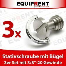 """3x Stativschraube / Fotoschraube mit Bügel 9,5mm (3/8"""" Zoll bzw 3/8""""-16) EQ987"""