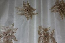 "White 100% Silk Fabric Organza w/ Hand-Painted Flower Embroidery 44"" W (EB-986B)"