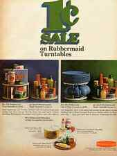 1967 vintage ad, RUBBERMAID TURNTABLES, Kitchen and table, 1 cent sale!-110112