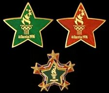 Lot of 3 Olympic Pin Badge~Star~ Christmas Colors~1996~Atlanta~Commemorative