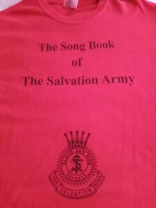 Rare Vintage Red Salvation Army Song Book Shirt Large Never Worn