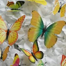 Yellow 3D Butterfly Stickers 12 pcs Diy Wall Decals Crafts Supplies Decorations