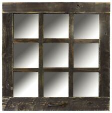 NEW RUSTIC FARMHOUSE BARN WOOD ANTIQUE STYLE 9 PANE WINDOW MIRROR 24 X 24 DECOR