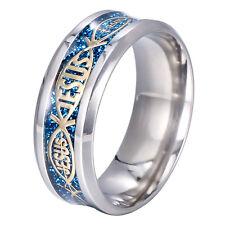 8mm Men Stainless Steel Titanium Jesus Christian Prayer Blue Band Ring Size13