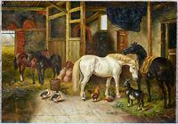 Flemish oil On panel painting farm stable scene horse chicken ducks animals 1960