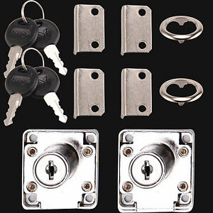 Cam Lock for Door Cabinet Mailbox Drawer Cupboard 2 Locks 4 Keys