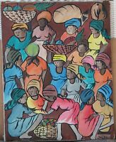 Haitian Oil-1960's-Numerous Women At Market-By Joel Aveus-Signed