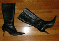 Diba Womens Black Leather High Zip Pointed Toe Boots SZ 9.5M