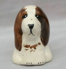 HAND PAINTED ART POTTERY MINIATURE  MODEL Spaniel Springer? Cocker DOG THIMBLE