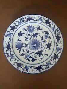 """Bombay Asian Garden Dragon Dinner Plate Cobalt Blue 10 3/4""""  A01"""