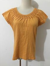 Talbots Cap Sleeve 'Vintage' Cotton Top Blouse Orange/Papaya/ Melon Size S