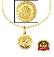 "18k Gold Saint Christopher Pendant And 30"" Cuban Curb Link Necklace Set +GiftPkg"