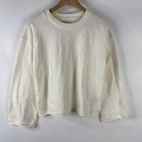 Madewell Sweatshirt Size Small Womens Ivory Bell Sleeve Crop Raw Hem Crewneck