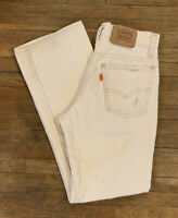 Rare Vtg 70's Corduroy Levis 716 26x27 White Pants Made In USA