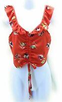 Morning Kisses Juniors Crop Top Sleeveless Orange Multi Color Floral Size XL