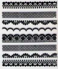 Black Lace Border Nail Art Stickers Nail Decals Decoration Manicure Tips Art ♫