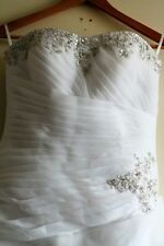 Wedding dress *strapless* corset style beaded embroidery size 12-18 adjustable