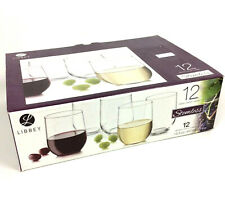 Libbey Stemless 12 Piece Wine Clear Glass Party Set for Red or White Wines