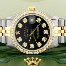 Rolex Datejust 2-Tone Gold/Steel 31mm Womens Watch w/Black Dial & Diamond Bezel