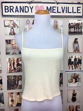 New! Brandy Melville Soft Stretchy Pastel Yellow Thermal Crop Faye Tank Top Nwot