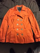 Guess Double Breasted Skirted Trench Coat Animal Print Interior Retro Size S EUC