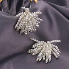 White Round Handmade Pearl Tassel Earrings Silver EarStud Party Mesmerizing
