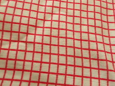 VTG FEED SACK COTTON FABRIC 36 x 48 SMALL RED SQUARES ON WHITE NEAR PERFECTION