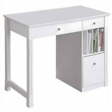 Deluxe Solid Wood Desk Computer Laptop Table With Multi Storage Shelf White New