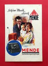 alter Radio Prospekt MENDE Hochleistungsempfänger versch. Modelle 1929 ( F19011