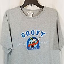 Disney World Shirt XL Goofy Seriously Clueless Gray Short Sleeves Patches