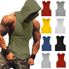 Men Gym Muscle Workout Lightweight Solid Sleeveless Athletic Hoodies Tank Top