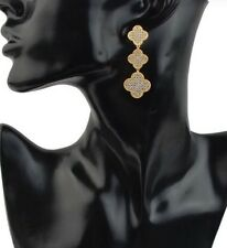 "Clover Leaf Drop Earrings Van Cleef Style Gold Plated 3 "" Pave Crystal CZ New"