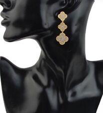 Clover Leaf Flower Drop Earrings Designer Style 18k Gold Plated 3 Pave Crystal