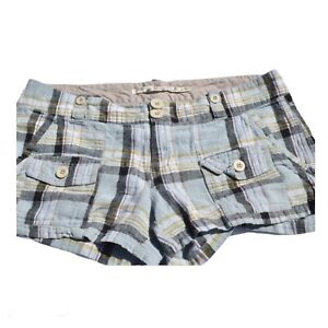 Tyte Jeans Women's Blue Green Black Plaid Linen Shorts Size 11 Comfy and Stylish