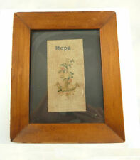 "Antique Victorian Punch Paper Perforated Needlework Framed ""Hope"" Anchor"