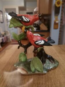 Vintage Stangl Pottery Double White Wing Crossbill Bird Figurine 3754 No Damage