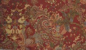 "Rare Pottery Barn Clara Shower Curtain Red Floral Birds Paisley EUC 72"" X 72"""