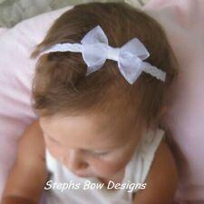 White Sheer Dainty Hair Bow Headband Fits Preemie Newborn Baby Toddler Easter