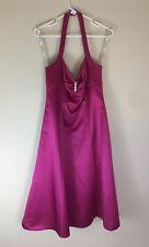 Davids Bridal Bridesmaid/Prom/Other Polyester Halter Maxi Dress Magenta , Sz 18