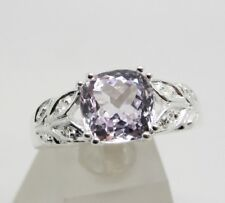 925 sterling silver 1.98ct kunzite and white topaz ring, size O, can be resized