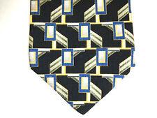 """Monterey Bay J.Blades & Co Mens Necktie Tie Navy Blue Silver Geometric Silk 60"""""""