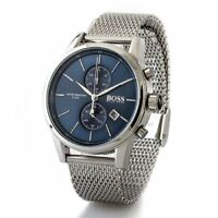 NEW GENUINE HUGO BOSS 1513441 MENS JET BLUE DIAL MESH STRAP CHRONOGRAPH WATCH UK