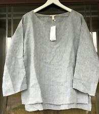 NWT Eileen Fisher Organic Linen Bateau Neck Top in Chambray Blue Sz Large
