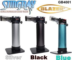 Blazer Stingray Butane Refillable Micro Torch GB4001, Black, Blue, Silver - NEW