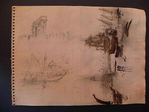 Orfeo Tamburi acquarello originale Parigi 1950 Venezia M