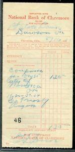 US NATIONAL BANK OF CLAREMORE, OKLAHOMA, CANCELLED DEPOSIT SLIP 5/16/1932