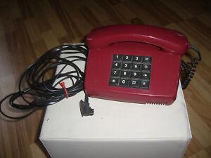 POST Tel 01 LX  Tastentelefon TAE-Stecker, Rotes Alarm Telefon TWB Vintage